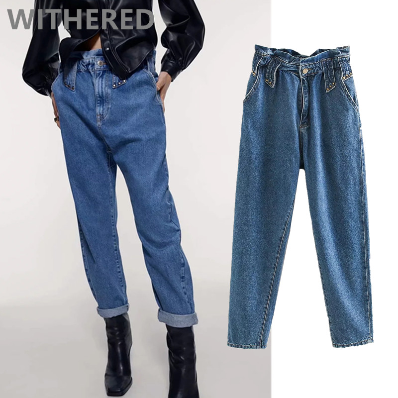Withered 2020england Simple Vintage Mom Jeans Woman High Waist Jeans Elastic Waist Rivet  Boyfriend Jeans For Women Jumpsuits