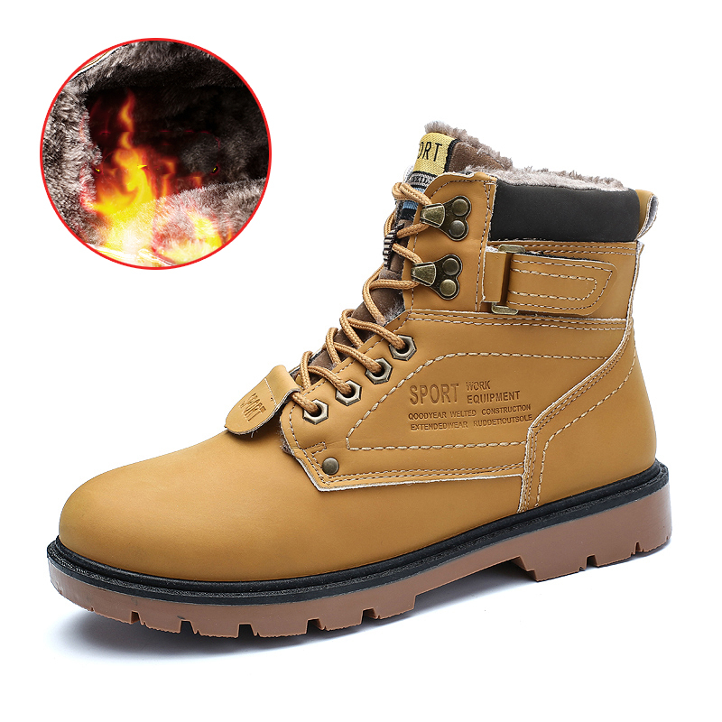 2020 Winter Warm Men Ankle Snow Boots Plush Inside Anti-skid High Top Work Safety Boots Flats Western Oxfords Vintage Male Shoes