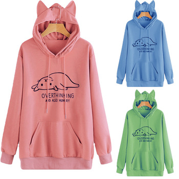 women hoodies cat harajuku pink cute hoodie print womens clothing 2019 christmas clothes oversized gothic 2019 plus size plus size cat print hoodie with ears