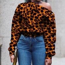 One Shoulder Designer Leopard Hoodie Sweatshirt Women White Hoodies Plus Size Sexy Print Crop Streetwear Long Sleeve Fall 2019 white sexy lips print print crop sweatshirt