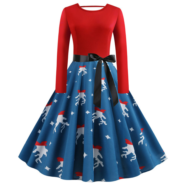 Christmas Dress 5xl New Year 2020 Vintage Print Evening Party Dress Elegant Christmas Dress Women Long Sleeves Plus Size