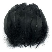 Plumes d'oie noires naturelles, 100 pièces/lot, accessoires de plumes colorées, bricolage, décoration de fête de mariage et de noël, 13-18cm