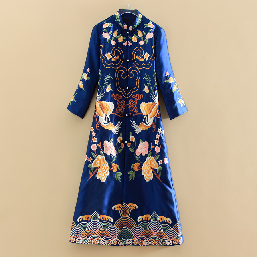 Embro Mill Elegant Lady Outerwear Autumn Indie Folk Twill Satin Embroidery Retro Women's Vintage Trench Coat Female S-XXL