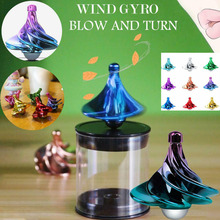Wind Blowing Spinning Top Pneumatic Gyro Decompression Toy Gyro Colorful Wind Blow Turn Airflow Gyro Decompression Toys Gifts