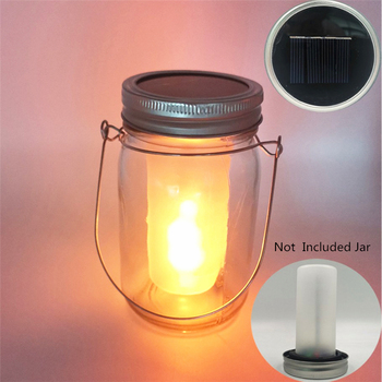Solar Mason Jar Lights LED Flickering Flame Effect Light Solar Lanterns for Outdoor Patio Party Garden Wedding Christmas Decor image