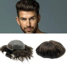 Preço de fábrica natural hairline 100% cabelo humano rendas frente homens peruca cabelo substituição para homem