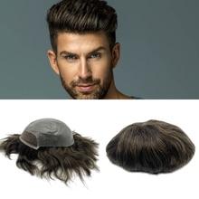 Precio de fábrica, cabello natural 100%, cabello humano, encaje frontal para hombres, peluquín, reemplazo de cabello para hombres