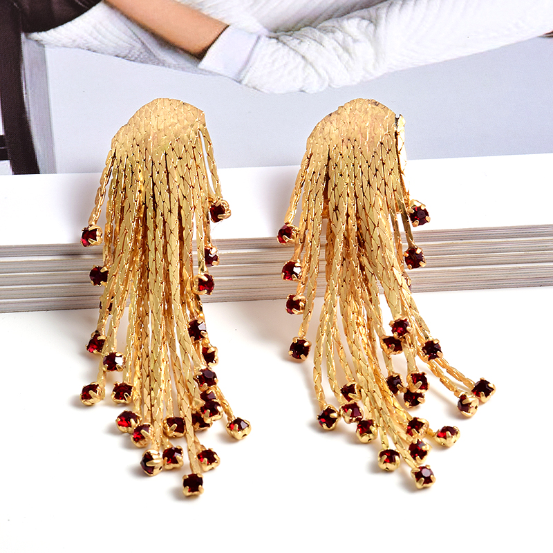 New Arrival High-Quality Long Gold Metal Drop Earrings Jewelry Fashion Trend Crystals Accessories For Women Wholesale