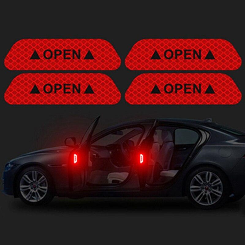 4 шт./компл. Автомобильная открытая светоотражающая лента предупреждающий знак ночного вождения безопасность освещение светящиеся аксессуары лента наклейки на дверь машины - Цвет: CWS0576RD