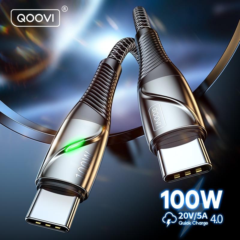 QOOVI 100W кабель-Переходник USB C на кабель с разъемом USB Type-C PD быстрое зарядное устройство 4,0 Быстрая зарядка для телефона Xiaomi Mi11 Samsung Macbook iPad USB-C и ...