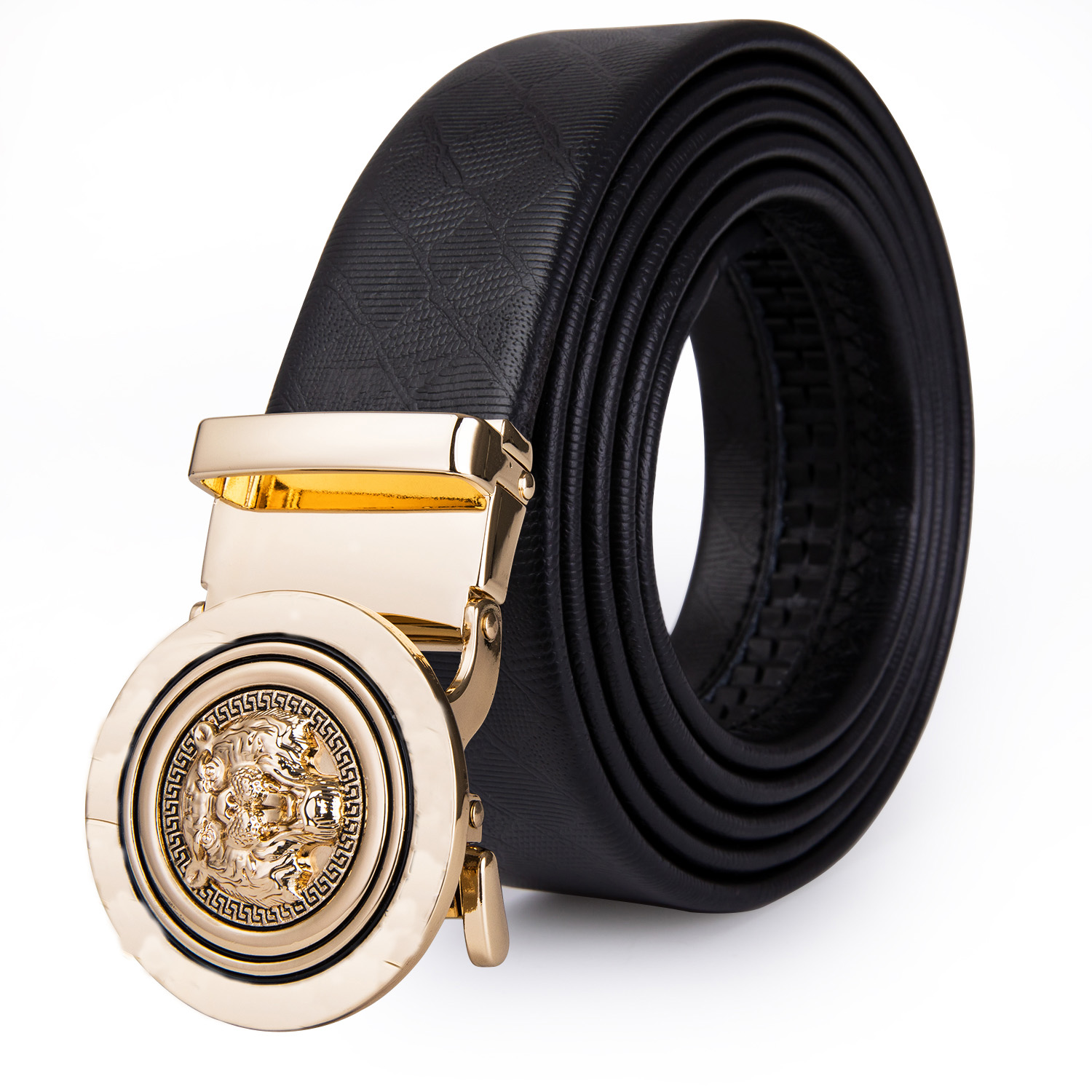 Gold Single Prong Pin Buckles Mens Belts Black Genuine Leather Holes Belts Gift