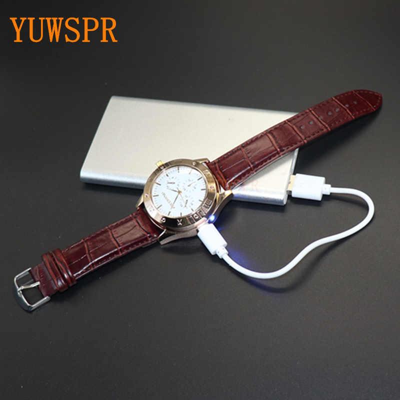 ไฟแช็กนาฬิกาผู้ชายUSBชาร์จนาฬิกาควอตซ์ทหารFlamelessกลางแจ้งชายนาฬิกาของขวัญJH311