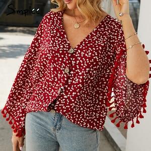 Image 2 - Simplee V neck bohemian button blouse shirt Women flare sleeve casual streetwear female blouse shirt Casual autumn tassel tops