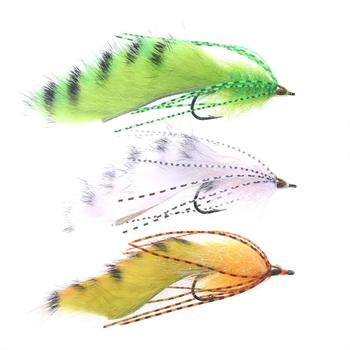 Vampfly 3pcs Size 1/0 Conehead Zonker Fly Variation White Orange Green Streamer Flies image