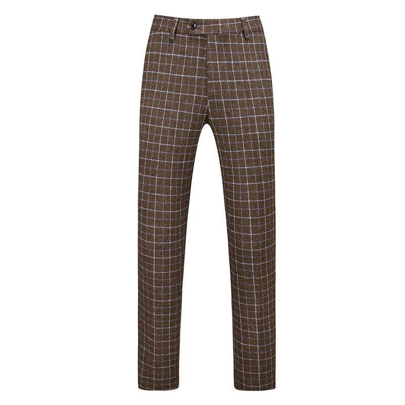 Pantalones De Traje Formales Para Hombre Pantalon Informal De Negocios A Cuadros Color Gris Cafe Novedad De 2020 Pantalones De Traje Aliexpress