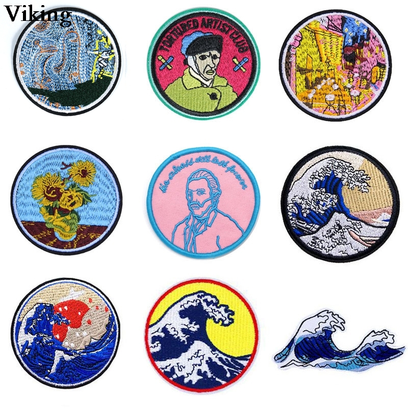 Van Gogh Wave <font><b>Patch</b></font> Iron on Sewing <font><b>Patches</b></font> for Clothing Bag Diy Appliques for Hat Bag Jeans Jacket <font><b>Coat</b></font> Fashion Badge G0957 image