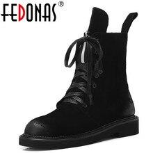 Fedonas marca feminina botas de tornozelo outono inverno vaca camurça curto senhoras sapatos mulher saltos grossos punk party club sapatos básicos