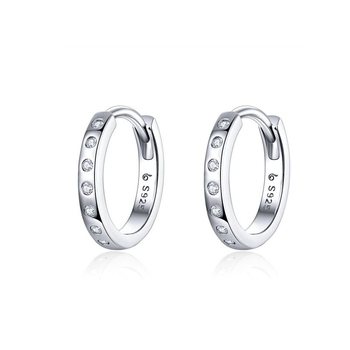 WOSTU Crystal Circle Hoop Earrings 925 Sterling Silver Korean Style Zircon Earrings For Women Wedding Minimalist Jewelry CTE101
