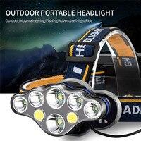 18650 USB Aufladbare Scheinwerfer Super Helle Scheinwerfer 2 * T6 + 4 * XPE + 2 * COB LED LED kopf Lampe Taschenlampe Kopf Licht Lampen-in Scheinwerfer aus Licht & Beleuchtung bei