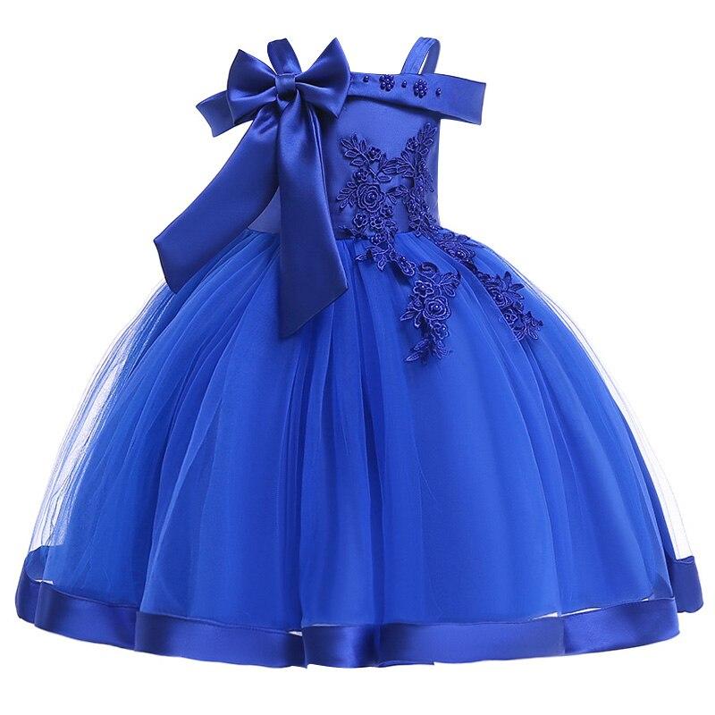 Новинка; платье принцессы для дня рождения, банкета, банкета, с бретельками; кружевное платье с цветочным узором для девочек на свадьбу; праздничное платье с рукавами; vestidos - Цвет: navy blue