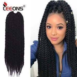 Leeons Crochet Hair Hair-Extensions Jumbo Braid Twist-Braids Havana Mambo Kanekalon Synthetic