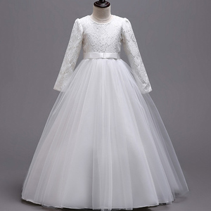 Image 4 - Long Sleeves Flower Girl Dresses For Weddings Lace First Communion Dresses Girl salted yarn Birthday Dress Party evening dress