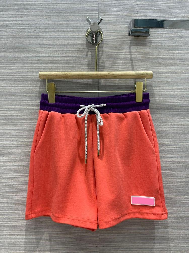 High Street Contrast Shorts for Women Summer 2020 Luxury Brand High Waist Drawstring Sport Shorts Top Quality Cotton Shorts Lady