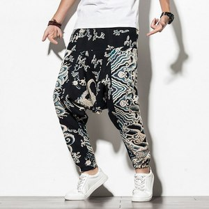 Men Hip-hop Harem Pants Boho Printed Plus Size Wide Leg Trousers Vintage Streetwear Baggy Pants Joggers Men Fitness Sweatpants