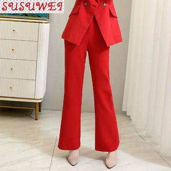 Duże rozmiary M-5XL spodnie damskie wysokiej jakości 2021 nowe jesienne i zimowe damskie spodnie dzwony moda garnitur spodnie czerwony czarny tanie i dobre opinie POLIESTER COTTON Spodnie do kostek NONE CN (pochodzenie) Na wiosnę jesień Stałe Pani urząd Proste Mieszkanie REGULAR