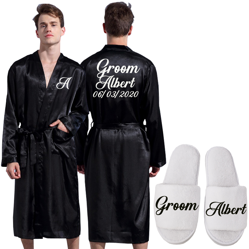 Groom Robe Emulation Silk Soft Home Bathrobe Nightgown For Men Kimono Customized Name And Date Personalized For Wedding Party