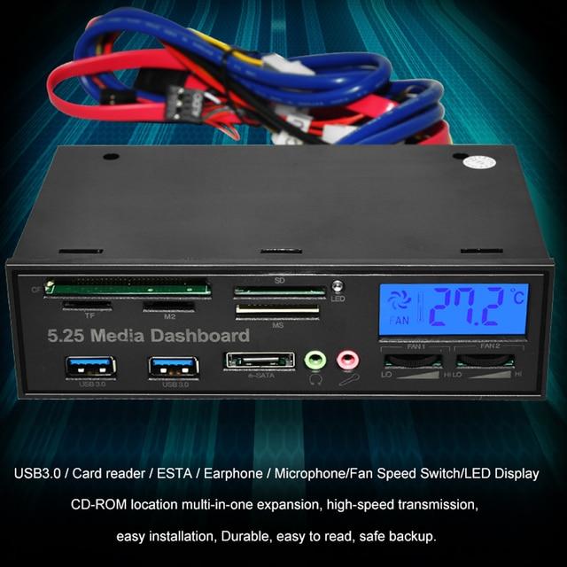 DeepFox Multifunctional USB 3.0 Front Panel 5.25'' Media Dashboard e-SATA MS CF TF SD Card Reader 3.5mm Earphone MIC Interface 6