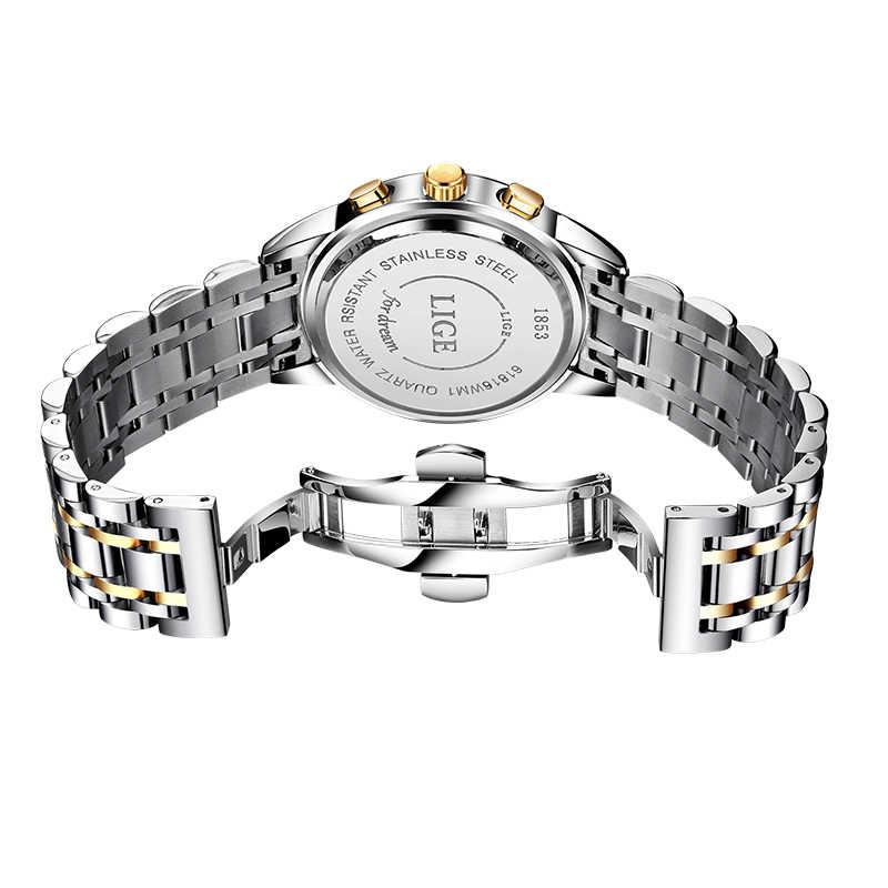 2019 LIGE Neue Rose Gold Frauen Uhr Business Quarzuhr Damen Top Marke Luxus Weibliche Armbanduhr Mädchen Uhr Relogio feminin