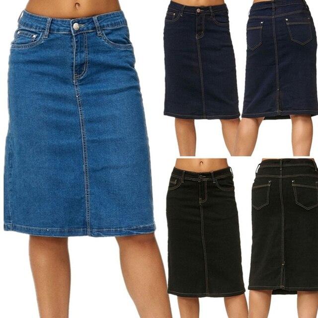 Denim Skirt Women Fashion Casaul Stretch Knee Length Washed Denim Blue Skirts Plus Size Pockets Pure Color Office Female Skirts 1