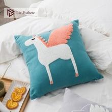 Liv-Esthete Cartoon Cute Horse Blue Embroidery Cushion Covers Decorative Square Pillow Cover For Sofa Bed Car Home 45x45cm