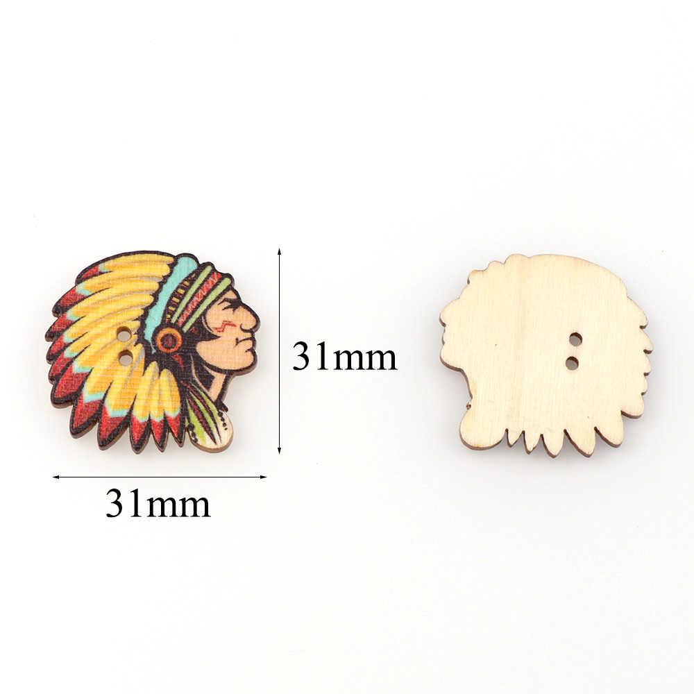 50 sztuk/partia 31*31mm Indian Avatar kształt drewniane guziki mieszane Handmake Scrapbooking dla rzemiosła DIY akcesoria do szycia