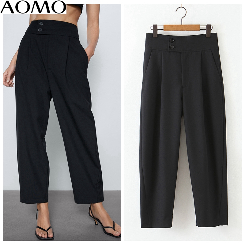 AOMO Fahsion  Women Fashion Basic Black Suit Pants Zipper Female Office Lady Work Trousers Pantalones Mujer QB131A