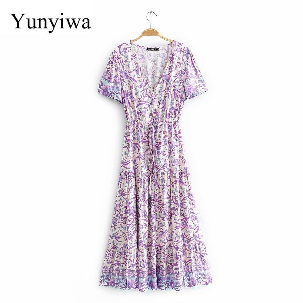 2020 Women's New Purple Printed Cotton Short Sleeve Dress Summer Women Sexy Dresses Midi Elegant Clothes Club Vestidos