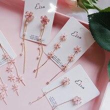 Cute Pink Sweet Geometric Resin Tassel Drop Earrings For Women Girls Za Wedding Jewelry Designs Dangle Statement Earrings resin tassel geometric drop earrings