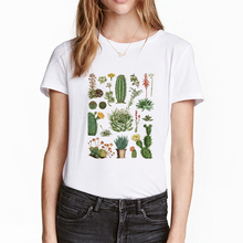 Harajuku Plant Cactus Fleshy Cute Letter Print Female T-shirt Ulzzang Fashion Summer Loose Casual O-neck Retro Women's Clothing
