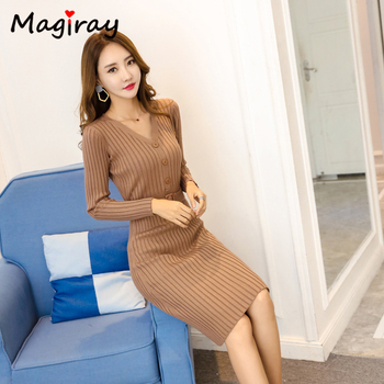 Knitted Belt Long Sleeve Dress Women 2020 Slim Bodycon Autumn Korean Elegant Fall Winter Button V Neck Sweater Midi Ribbed Dress 2