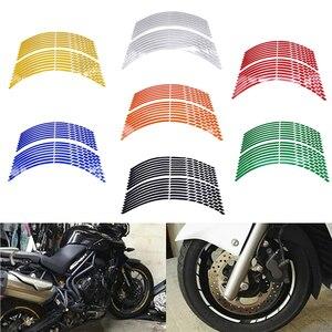 """Image 2 - 17 """"18"""" 19 """"16 스트립 오토바이 자동차 휠 타이어 스티커 반사 림 테이프 오토바이 오토 데칼 For Yamaha 스즈키 혼다 가와사키"""