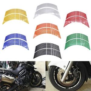 "Image 2 - 17""18""19"" 16Strips Motorcycle Car Wheel Tire Stickers Reflective Rim Tape Motorbike Auto Decals For Yamaha Suzuki Honda kawasaki"