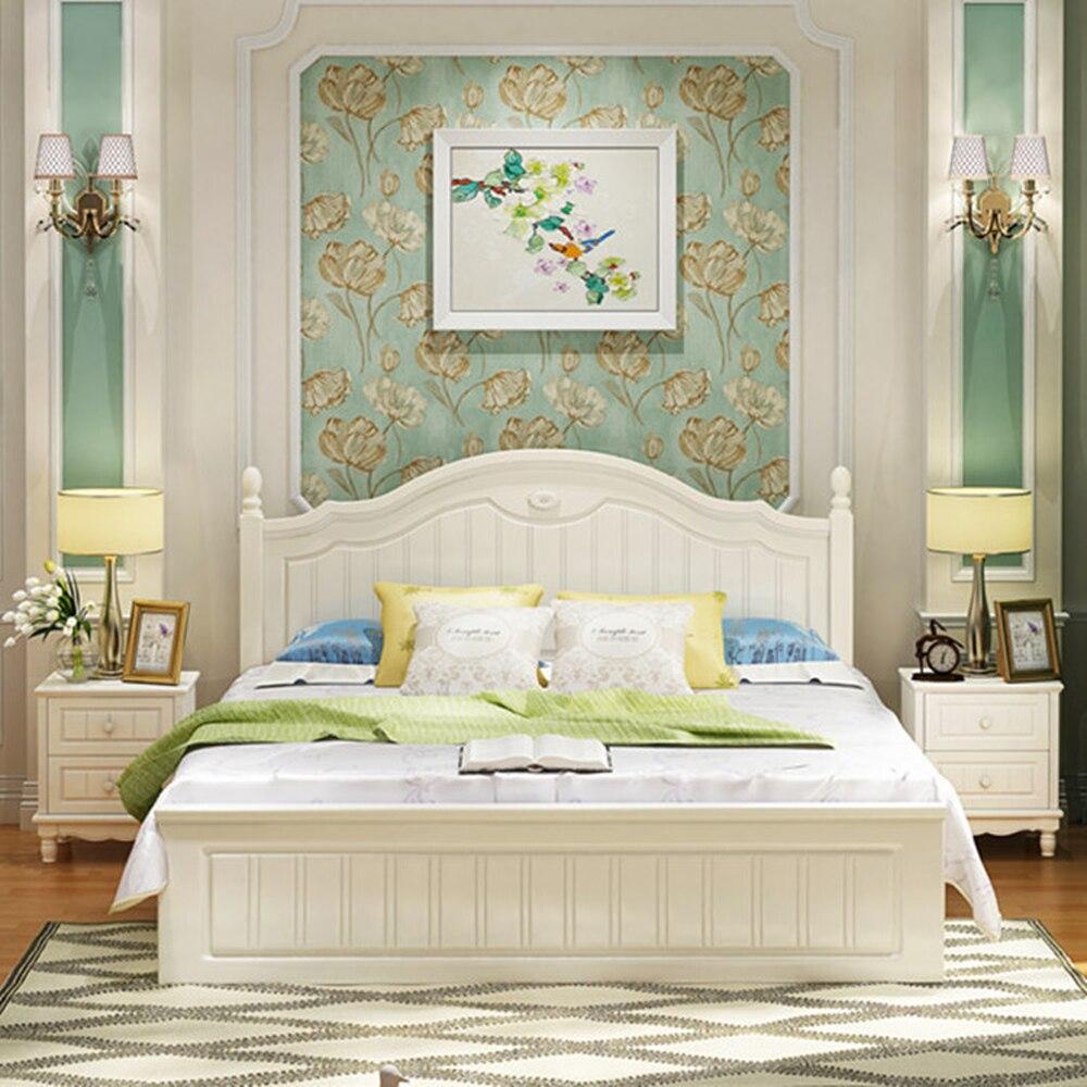 Cama Pastoral sencilla de estilo coreano, cama de princesa moderna de 1,5 M1.8 M, caja alta neumática, cama doble de almacenamiento, venta al por mayor 4 pósteres de cama rosa, dosel para cama de princesa Queen, mosquitera, tienda de cama, cortina de cuatro esquinas de largo hasta el suelo de 1,5x2 m # WW