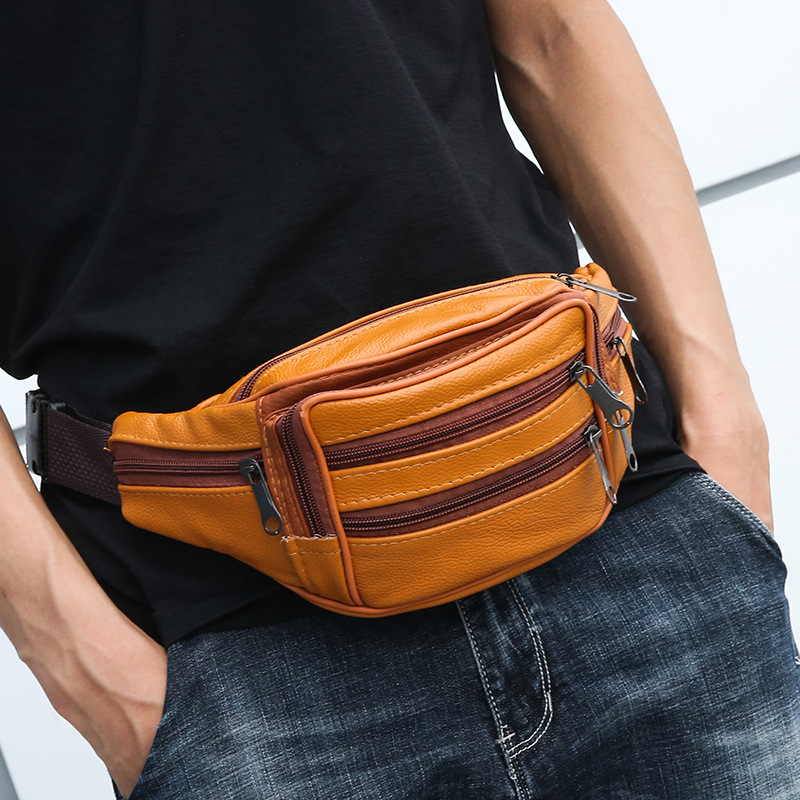 Full-grain Leather Mobile Phone Waist Bag Large Capacity Sports Waist Pack Bag Cross-body Men First Layer Leather Pocket