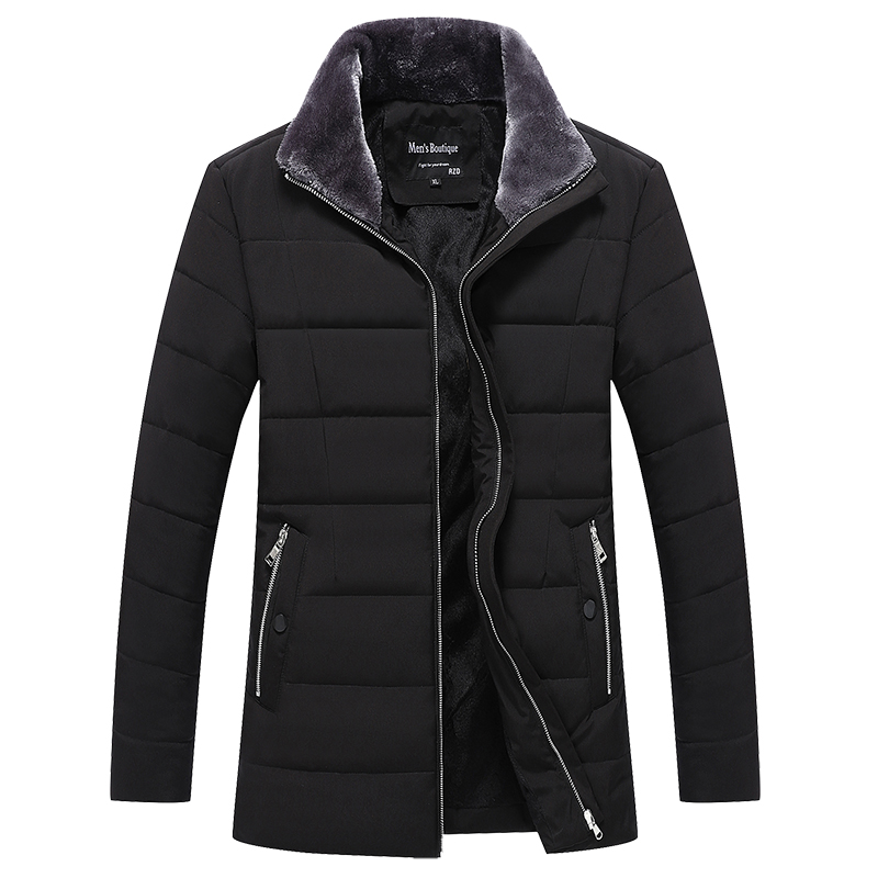 Winter Jacket Men Black Thick Parka Jacket Zipper Warm Men's Jackets Casual Men Coat  Polyester Winter Parks For Men L-4XL
