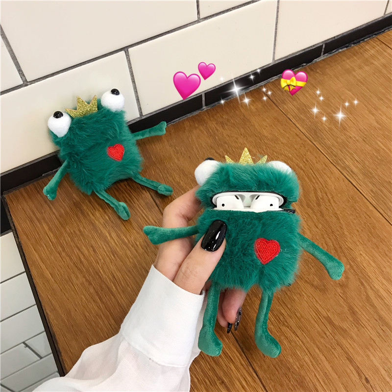 New Cartoon Cute Plush Toy Frog Prince With Crown Headphone Cases For Apple Airpods 1/2 Funny Flannel Protection Earphone Cover