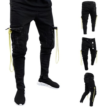 Oeak 2019 Autumn New Men Denim Jeans Slim Fit Racer Biker Jeans Fashion Hiphop Skinny Jeans Men Solid Denim Skinny Jeans Men