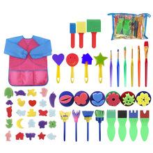 52 sztuk zestaw dzieci narzędzia do malowania EVA gąbka pędzle malarskie z długim rękawem fartuch wodoodporny narzędzia do rysowania zrób to sam rzemiosło artystyczne dostaw tanie tanio Sponge Painting Brush Children