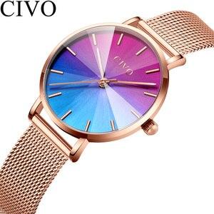 Image 2 - Ladies Watch CIVO 2020 New Listing Fashion Rainbow Watches Women Top Brand Luxury Waterproof Female Girl Gift Quartz Clock 8111