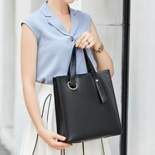 Woman PU Leather Handbag Large Capacity Top-handle Bag Lady